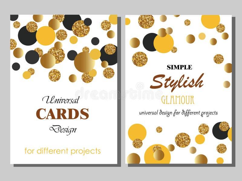 Colección de tarjetas universales con los puntos del brillo del oro stock de ilustración