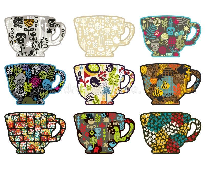 Colección de tazas de té con diversos modelos. ilustración del vector