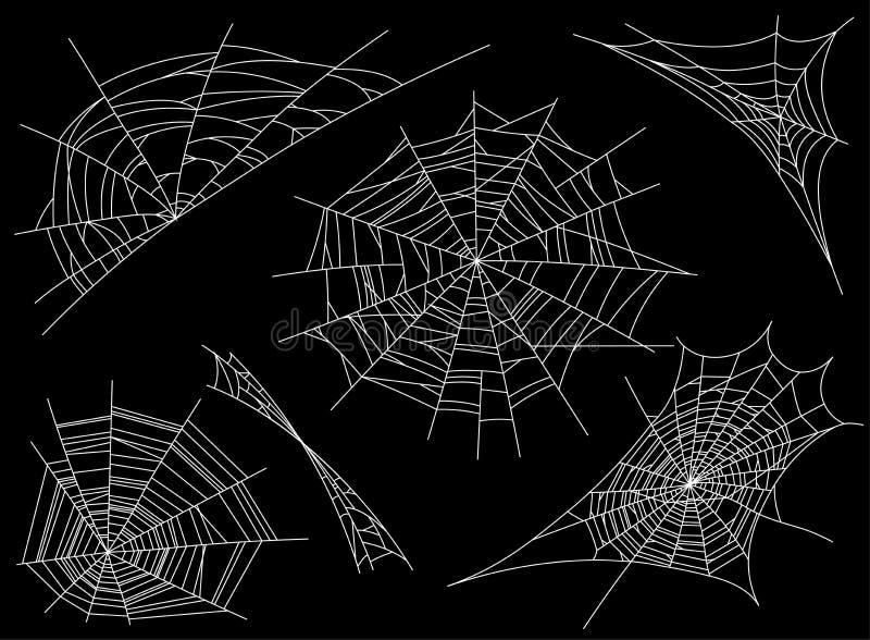 Colección de telaraña, aislada en fondo negro, transparente Spiderweb para el diseño Elementos del web de araña, fantasmagórico,  ilustración del vector