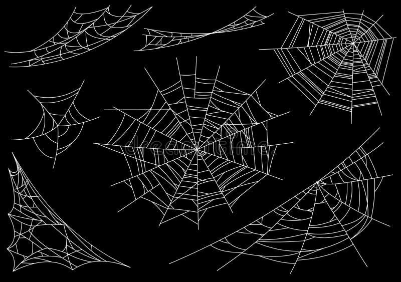 Colección de telaraña, aislada en fondo negro, transparente Spiderweb para el diseño de Halloween Elementos del web de araña ilustración del vector