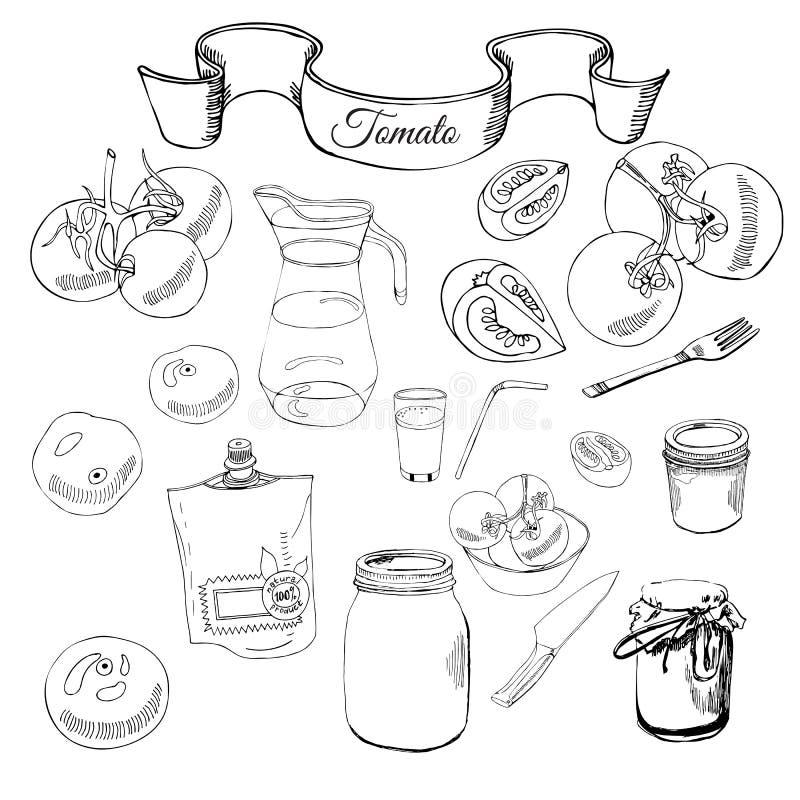 Colección de tomates y de otros objetos exhaustos de la mano Composición monocromática libre illustration
