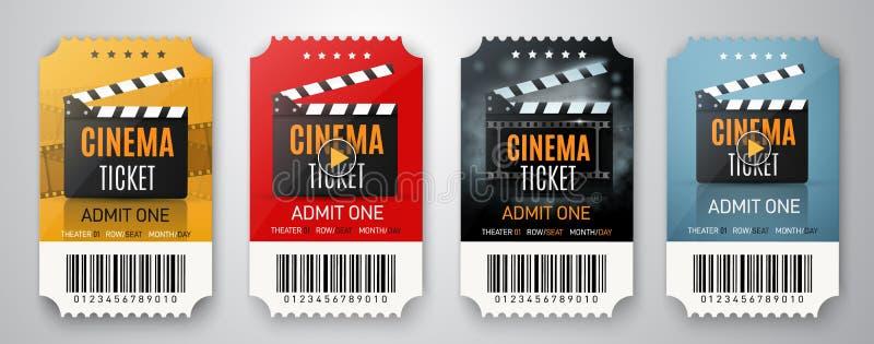 Colección de tres boletos del cine aislados en blanco Carteles de película o aviadores Ilustración del vector libre illustration