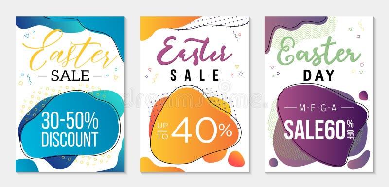 Colección de tres vales del descuento al día de Pascua Plantillas para el negocio con las formas líquidas coloridas y los element fotografía de archivo libre de regalías