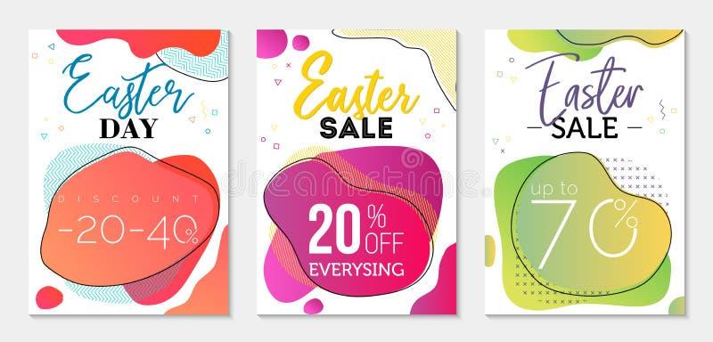 Colección de tres vales de la venta al día de Pascua Formas líquidas de la dual-pendiente colorida y elementos geométricos en fon imágenes de archivo libres de regalías