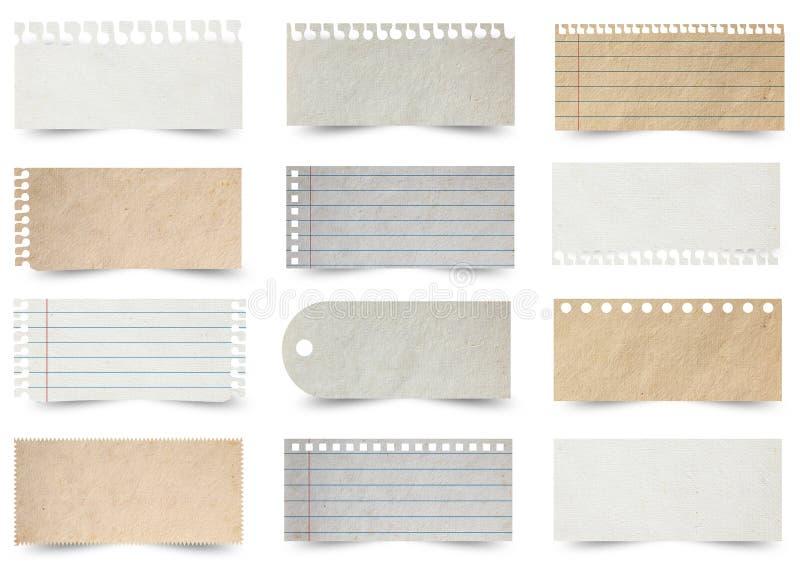 Colección de varios papeles de nota fotografía de archivo