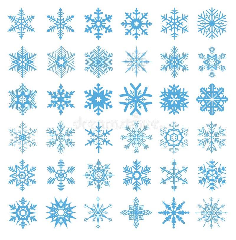 Colección de vector de 36 copos de nieve libre illustration