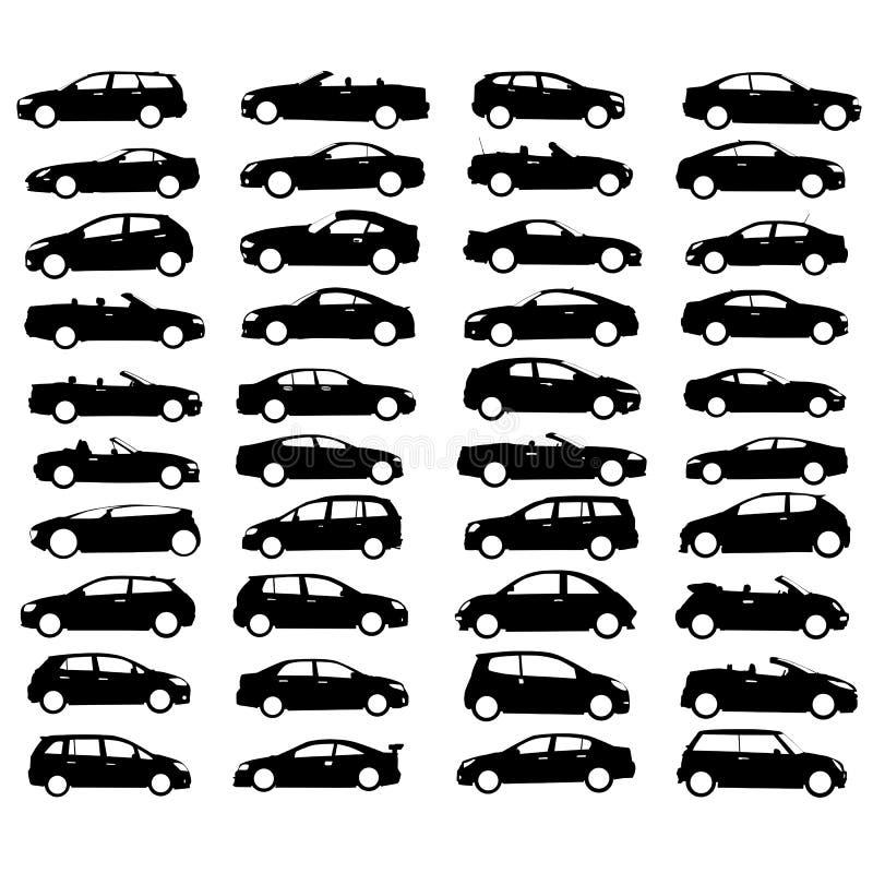 Colección de vector del coche y de la rueda ilustración del vector