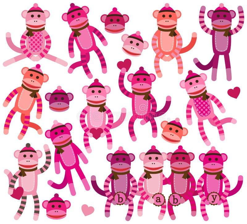 Colección de vectores del mono del calcetín de la muchacha ilustración del vector