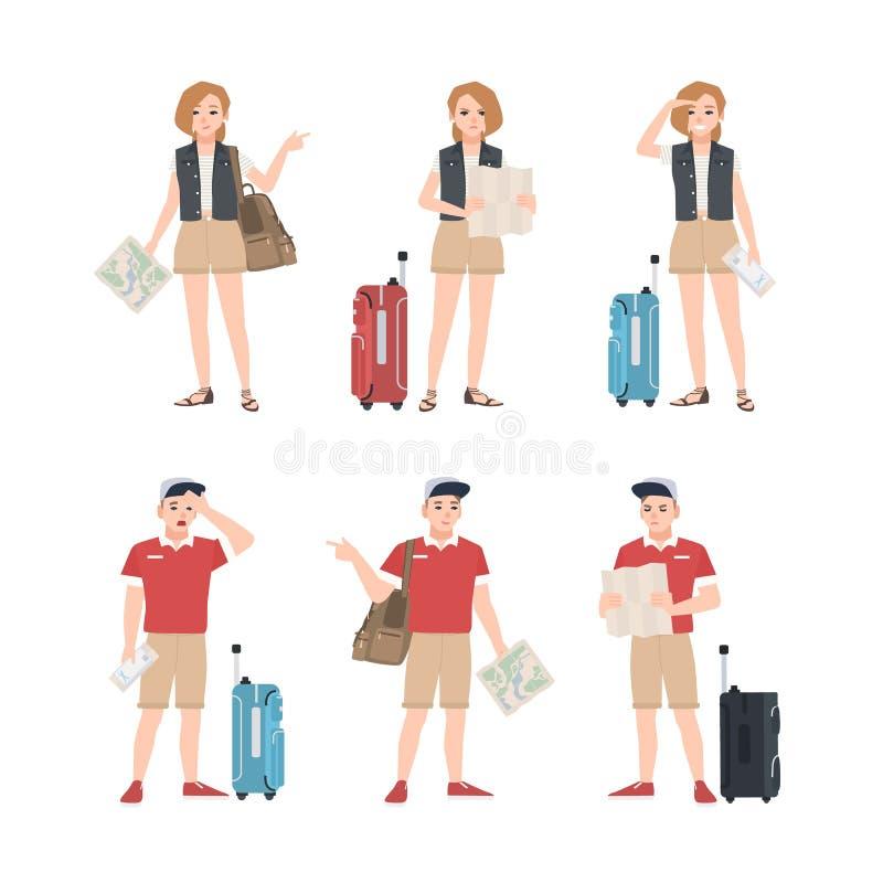 Colección de viajeros masculinos y femeninos con el mapa que se coloca en diversas actitudes Sistema de turistas del hombre y de  stock de ilustración