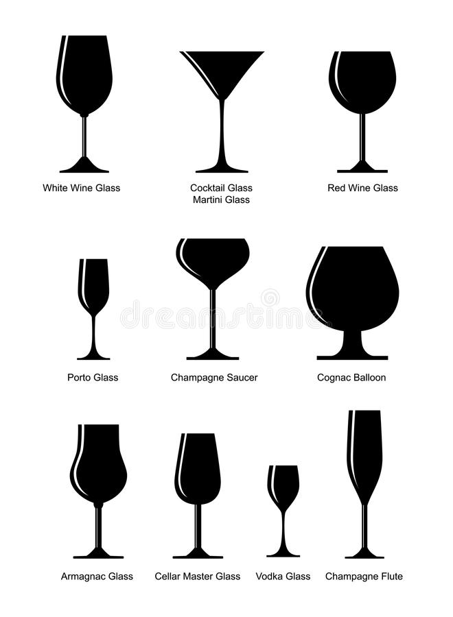 Colección de vidrio alcohólico stock de ilustración