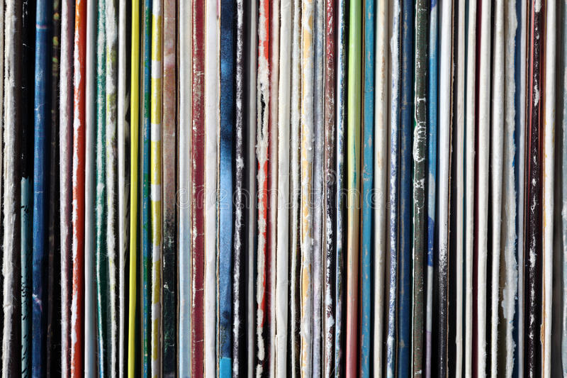 Colección de viejos discos de vinilo imagen de archivo