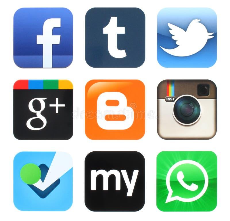 Colección de viejos medios iconos sociales populares ilustración del vector