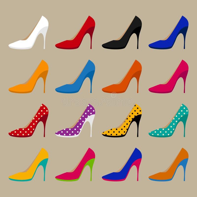 Colección de zapatos del vector foto de archivo