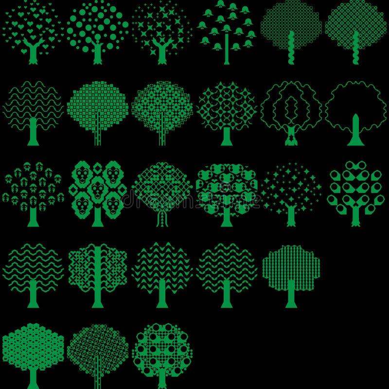 Colección del árbol del vector para todo el diseñador stock de ilustración