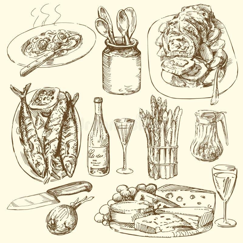 Colección del alimento ilustración del vector