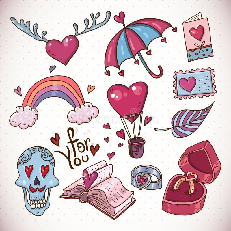 Colección del amor de la historieta del garabato stock de ilustración