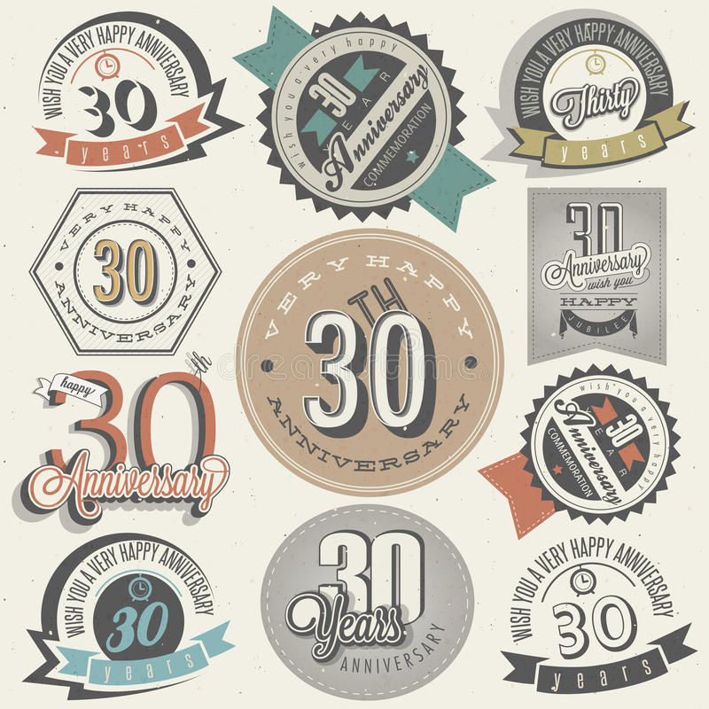 Colección del aniversario del estilo 30 del vintage. imagenes de archivo