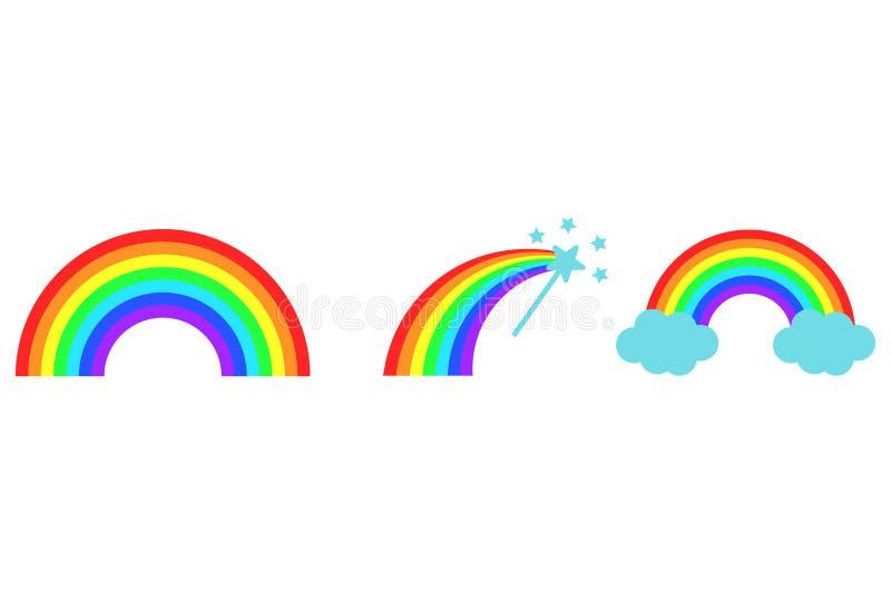 Colección del arco iris del color del vector Nubes Varita mágica Iconos planos de la historieta ilustración del vector