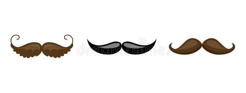 Colección del bigote Silueta negra del sistema del bigote aislado en blanco Dibujo estilizado del grabado del vintage Vector stock de ilustración