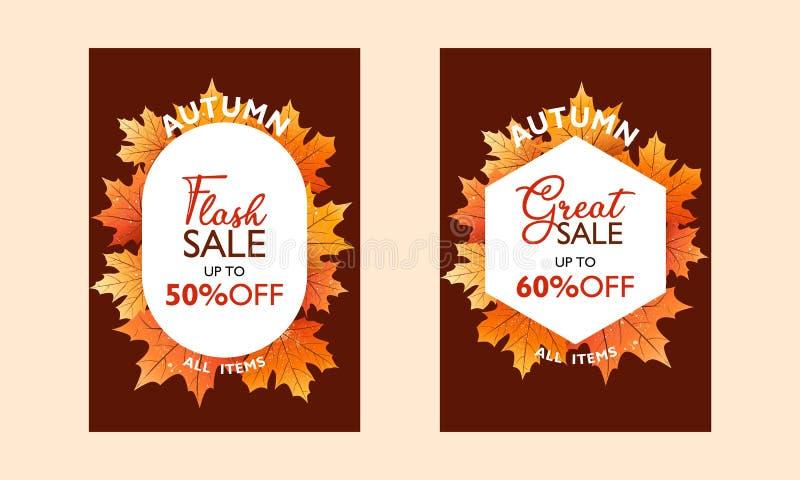 Colección del cartel de la oferta especial del otoño para la promoción, publicación Venta de destello y gran venta Con las hojas  ilustración del vector
