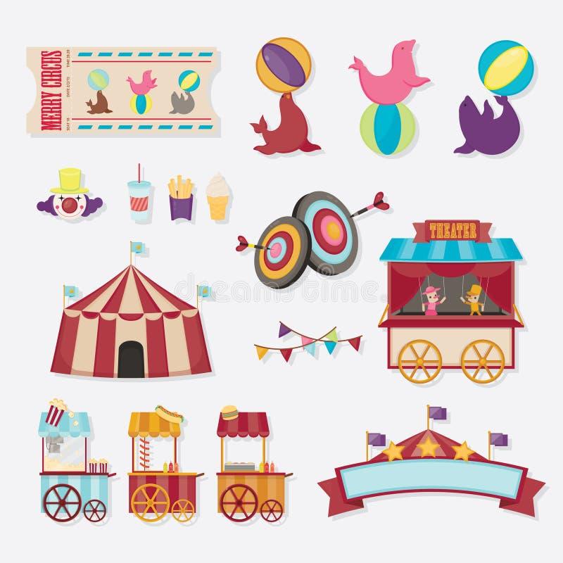 Colección del circo con el carnaval, feria de diversión Iconos del vector y colección del fondo y del ejemplo libre illustration