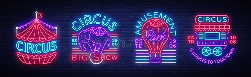 Colección del circo de señales de neón Sistema de los logotipos para el circo en el estilo de neón, símbolo del circo, bandera de libre illustration