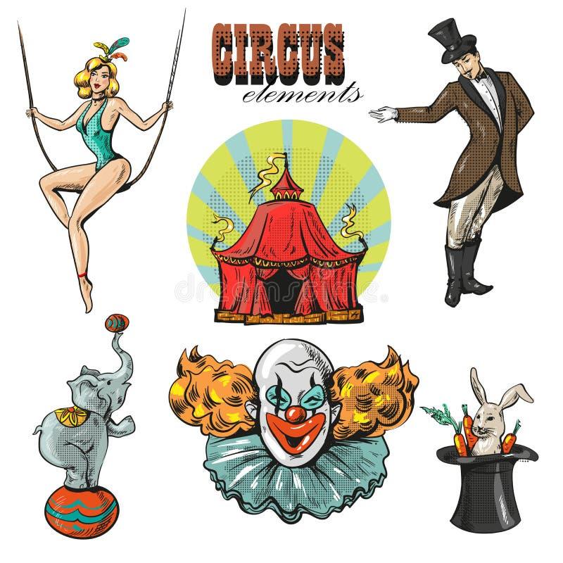 Colección del circo del inconformista del vintage con el carnaval, feria de diversión stock de ilustración