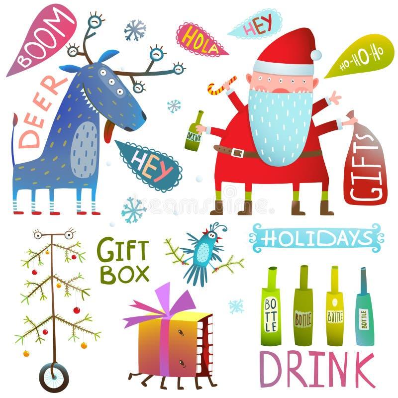 Colección del clip art de la Feliz Navidad de la Feliz Año Nuevo con las botellas y el árbol de los regalos de santa de los cierv ilustración del vector