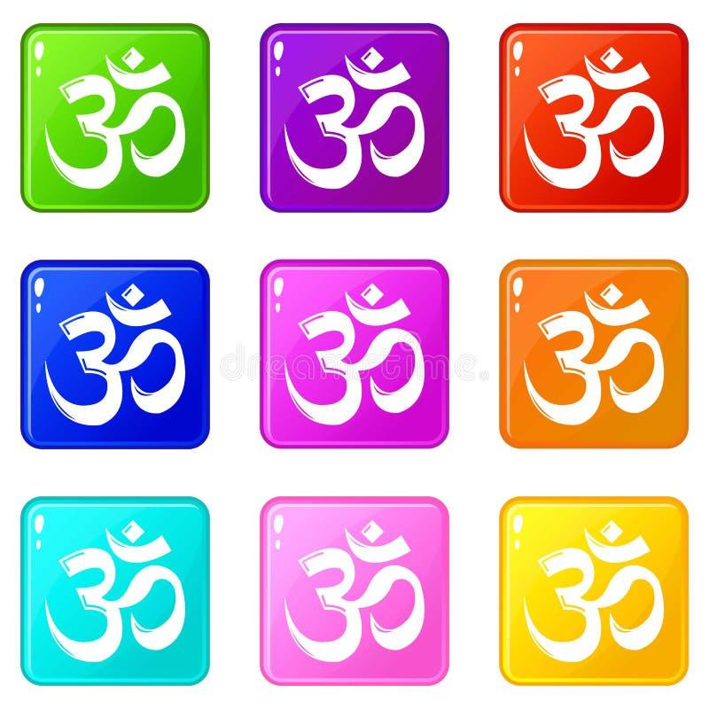 Colección del color del sistema 9 de los iconos del hinduism del símbolo de OM stock de ilustración