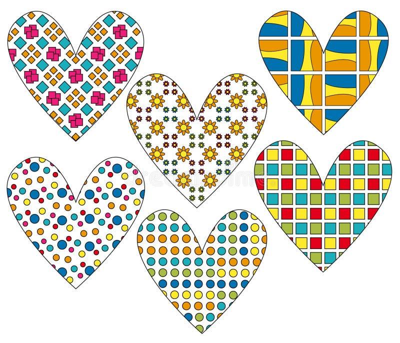 Colección del corazón con diverso modelo colorido ilustración del vector