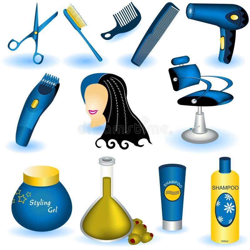 Colección del cuidado de pelo stock de ilustración
