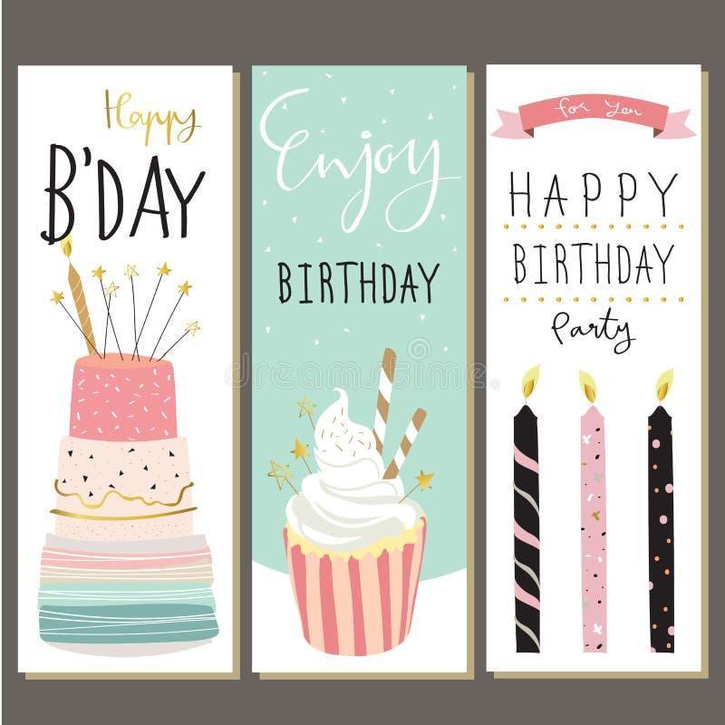 Colección del cumpleaños para la tarjeta de felicitación con la torta, la vela y el cupca imágenes de archivo libres de regalías