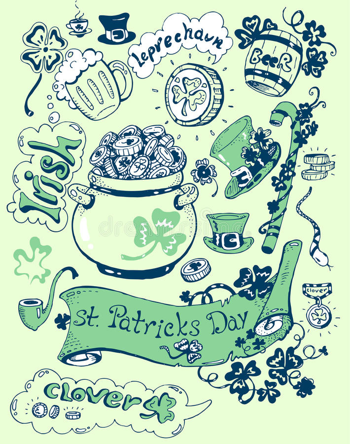 Colección del día de Patricks de objetos libre illustration