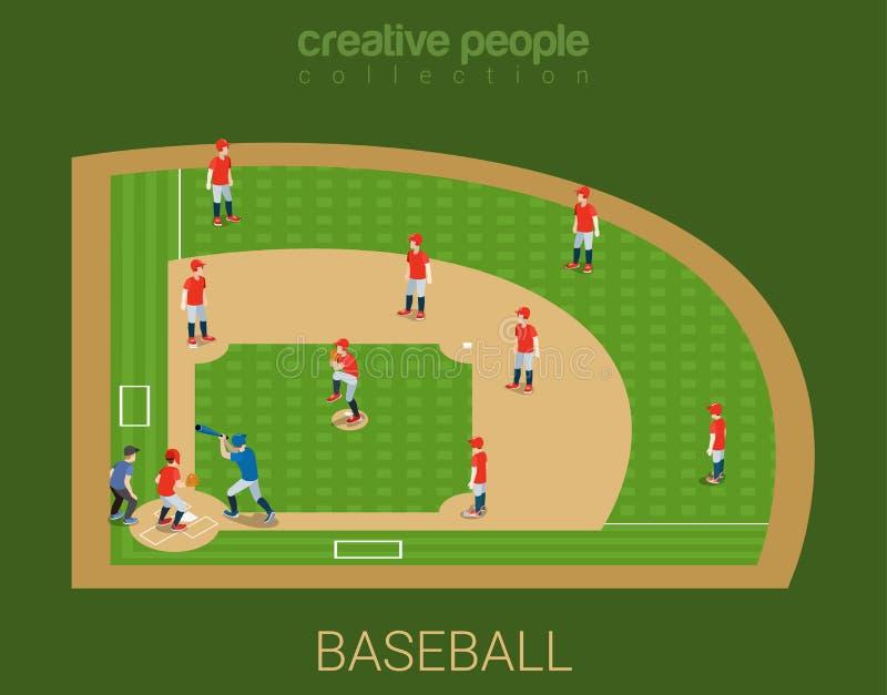 Colección del deporte: juego de partido del estadio de béisbol ilustración del vector