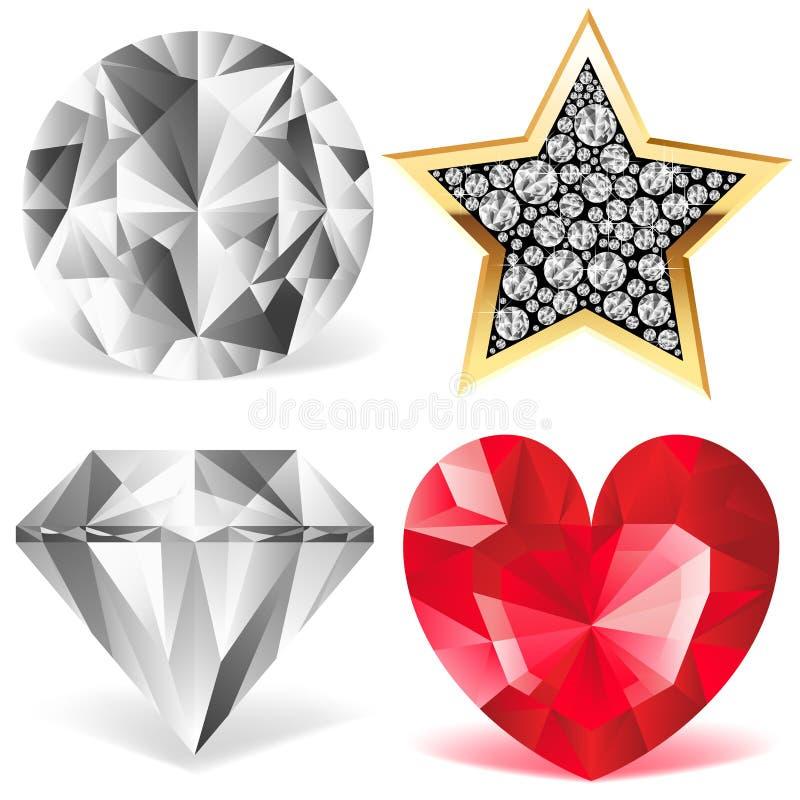 Colección del diamante ilustración del vector
