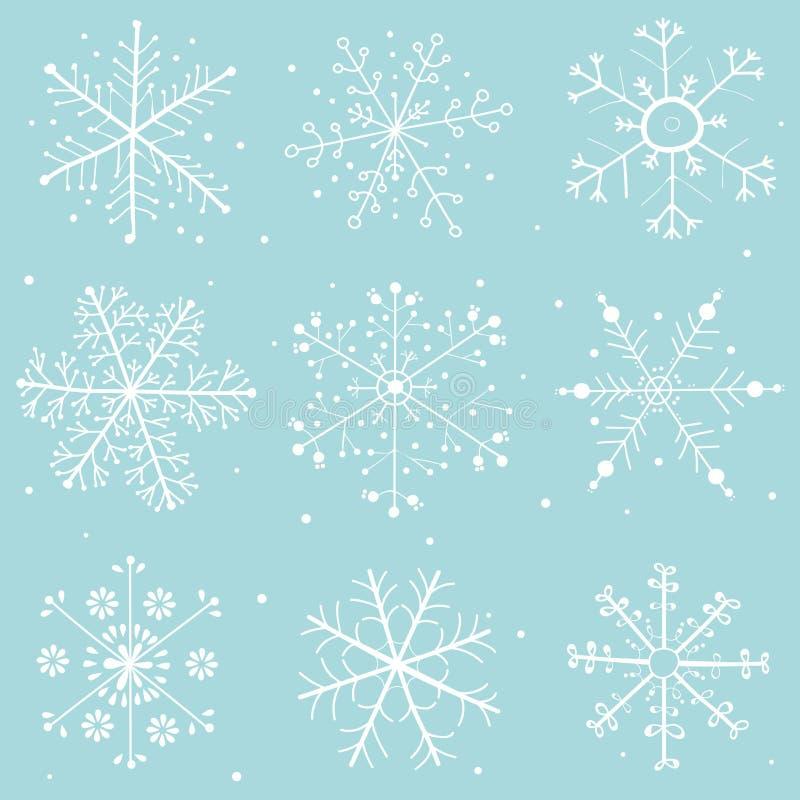 Colección del dibujo de los copos de nieve, azul clara - modelo del vector libre illustration