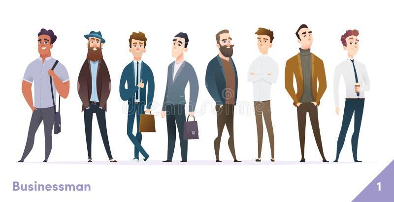 Colección del diseño de carácter del hombre de negocios o de la gente Estilo plano de la historieta moderna Actitudes profesional ilustración del vector