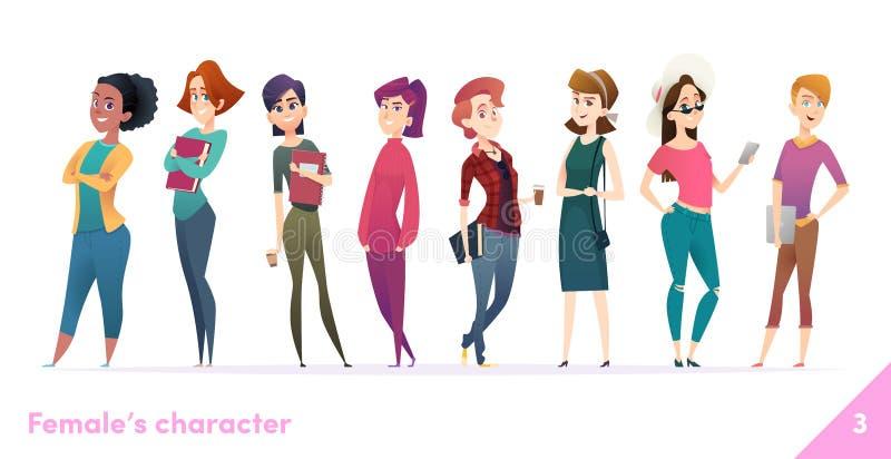 Colección del diseño de carácter de las mujeres Estilo plano de la historieta moderna Las hembras se unen Hembras jovenes en dive ilustración del vector