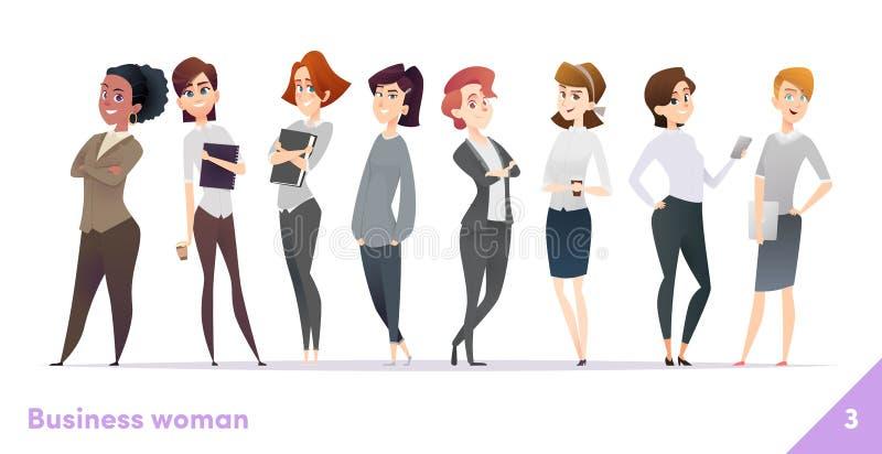 Colección del diseño de carácter de las mujeres de negocios Estilo plano de la historieta moderna Las hembras se unen Actitudes p stock de ilustración