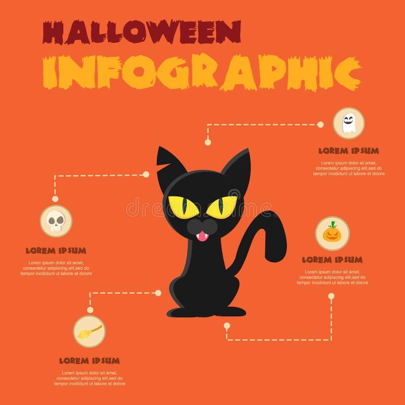 Colección del diseño de Infographic del tema de Halloween stock de ilustración