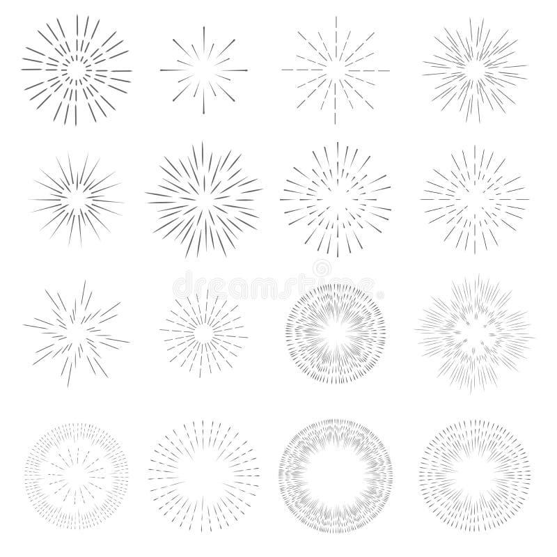 Colección del diseño de la plantilla del resplandor solar del vintage Rayos del vector estallado ligero de una estrella retra ilustración del vector