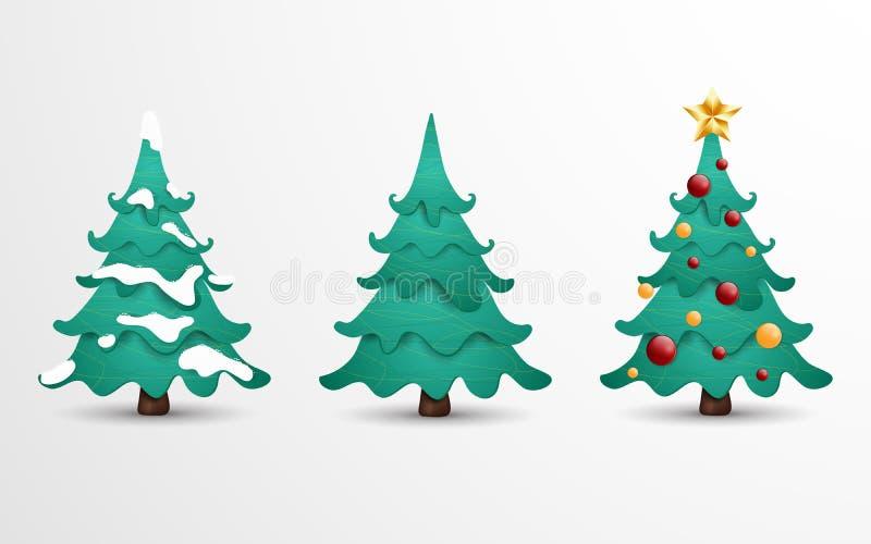 Colección del ejemplo de la historieta de árbol de navidad en 3 diversas situaciones Árbol de navidad adornado con las bolas, arc ilustración del vector