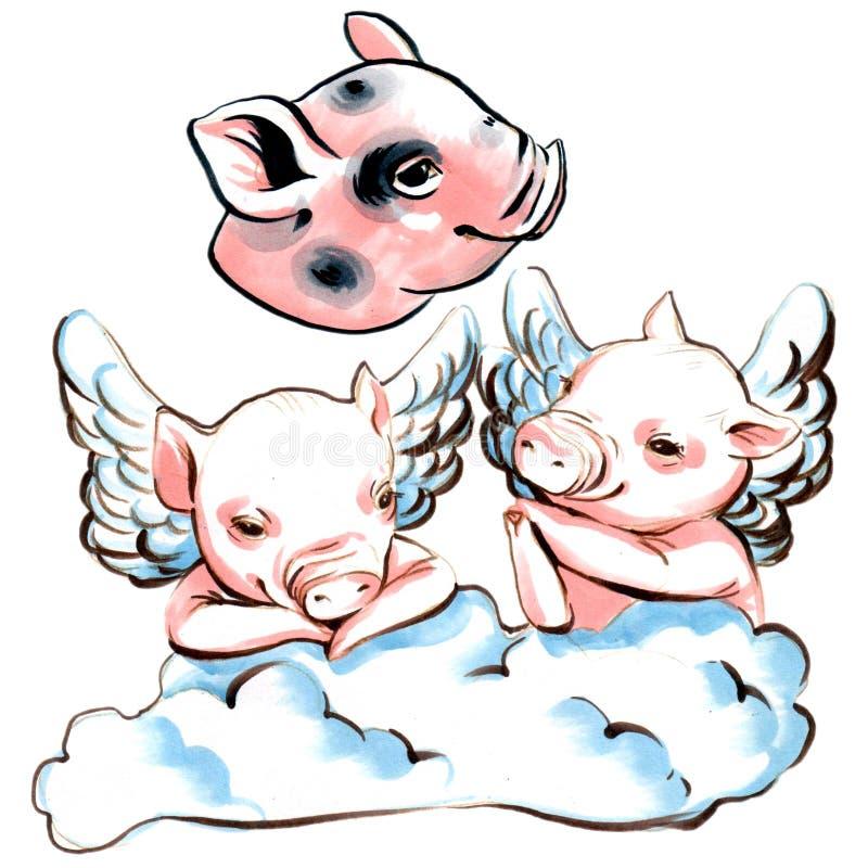 Colección del ejemplo del marcador de mini cerdos con las alas en una nube stock de ilustración
