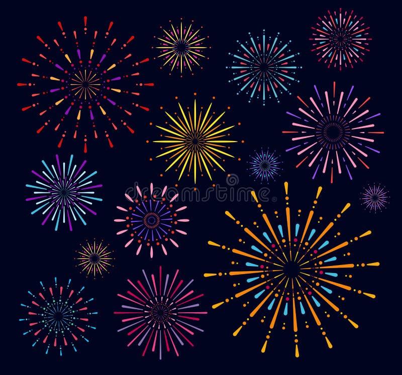 Colección del ejemplo del vector de saludo brillante festivo colorido del fuego artificial Saludo en fondo del cielo nocturno ilustración del vector