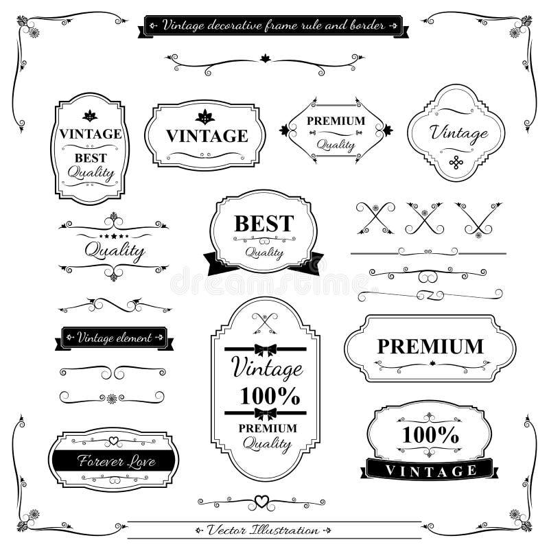 Colección del elemento 002 de la regla y del diseño de la frontera del marco del vintage stock de ilustración