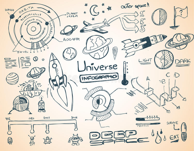 Colección del elemento del infographics del universo ilustración del vector