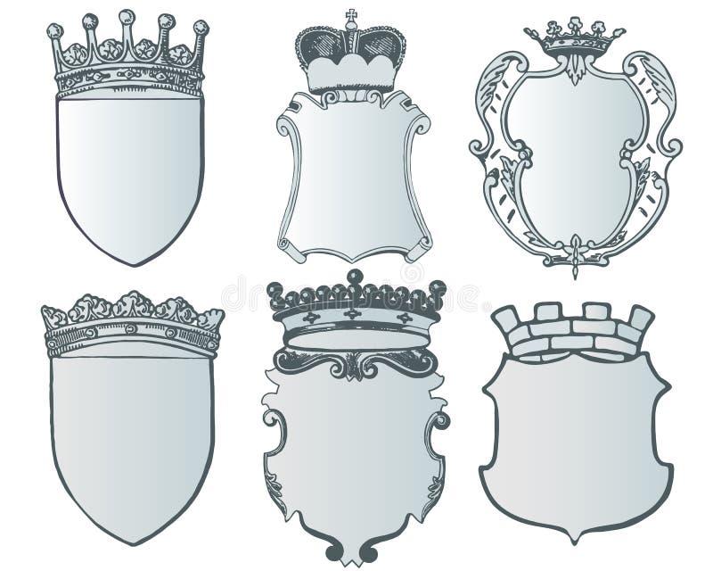 Colección del elemento y plantilla heráldicas del escudo de armas