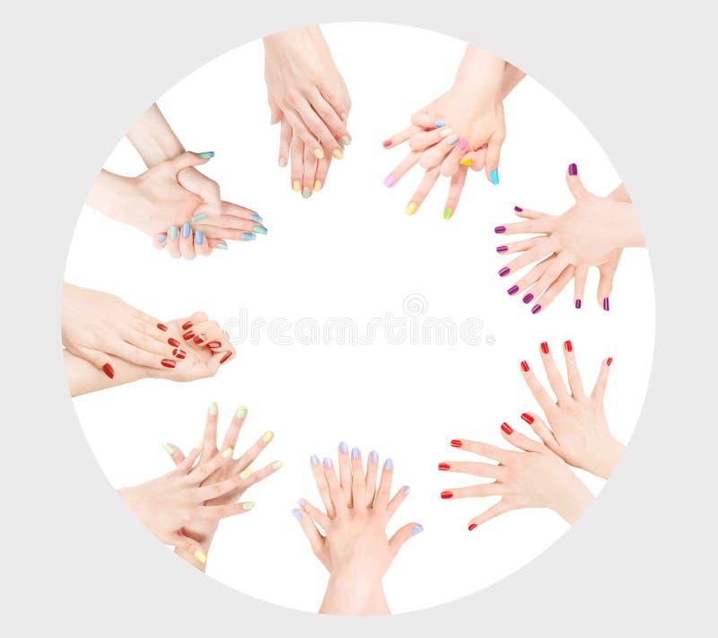 Colección del esmalte de uñas como círculo con el espacio de la copia fotos de archivo