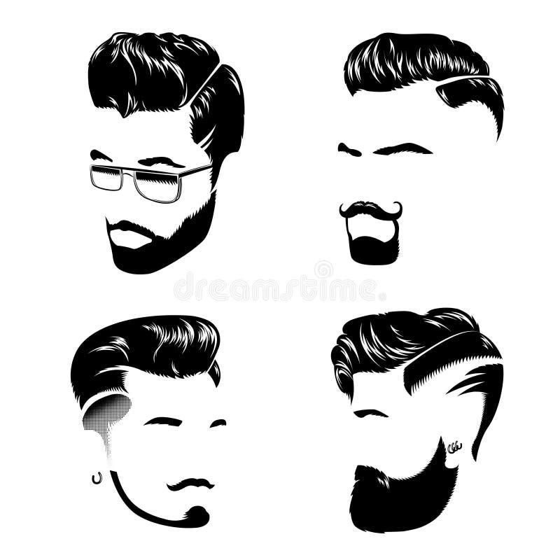 Colección del estilo de pelo del hombre stock de ilustración