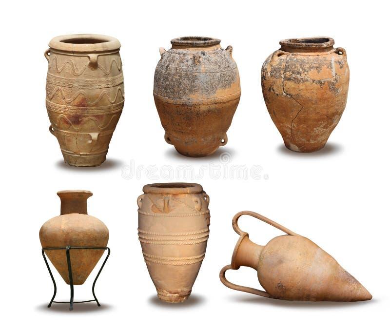 Colección del florero de la antigüedad y de Minoan fotografía de archivo